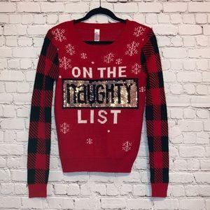 No Boundaries Naught Nice Red Holiday Sweater